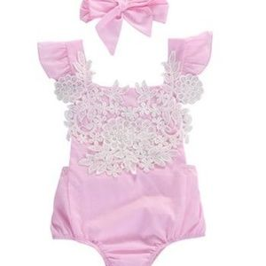 Other - Gorgeous pink baby romper with headband NB, 3 mo.